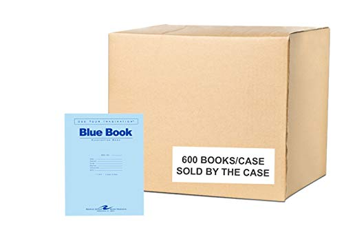 "Roaring Spring Test Blue Exam Book, 1 Case (600 Total), Wide Ruled with Margin, 11"" x 8.5"" 4 Sheets/8 Pages, Blue Cover"