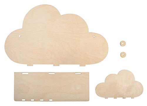 Rayher 62975505 Kit Mensola Fai-Da-Te In Legno Betulla Naturale, Nuvola, 35 X 10 X 21 cm, Mensola Per Cameretta Bambini, Da Personalizzare E Colorare