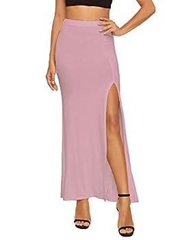 Verdusa Women s Solid Color High Waist Side Split Maxi Skirt Heather Pink S