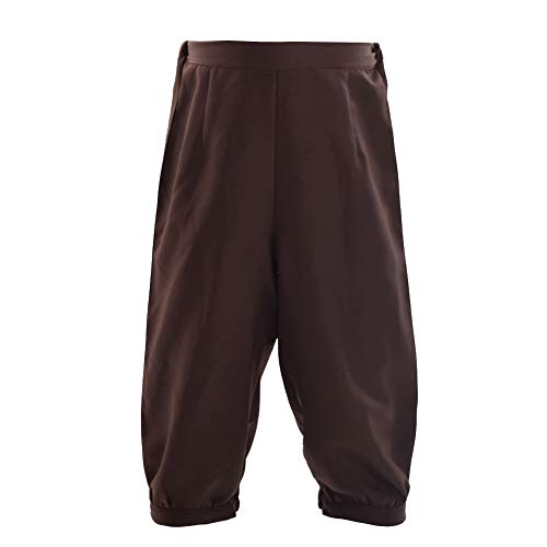 BLESSUME Retro Colonial Pants Renaissance Mens Knicker Pants Breeches (Brown, M)