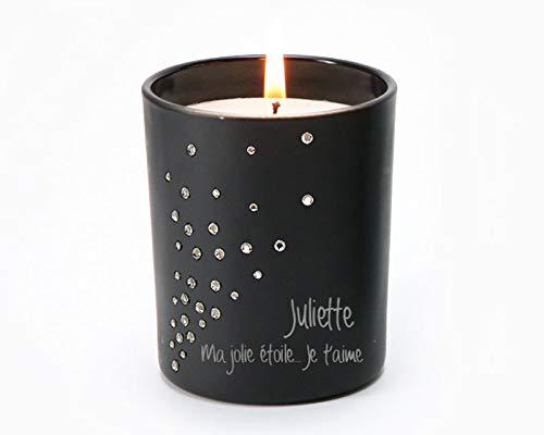 Bougie Poussières d'étoiles - incrustée de Cristaux Swarovski® et parfumée à la vanille - 35h de combustion