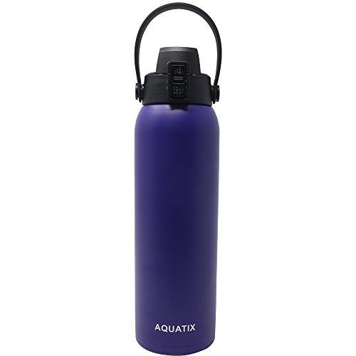 Aquatix FlipTop Sport Bottle AQ-FTP-PLP-32 Aquatix FlipTop Double Walled Insulated Bottles, Stainless Steel, Purple/Lavender