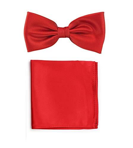 PUCCINI Uni Fliegen Set mit Einstecktuch│einfarbiges Set mit Herrenfliege (Fliege, Bow Tie) und Einstecktuch in: Rot (Rot)