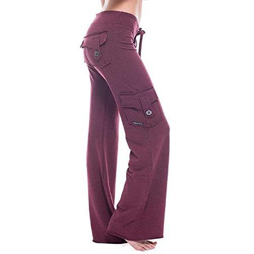 U/A Pantalones de Yoga Pantalones Muy elásticos al Aire Libre Pantalones Rectos Sueltos Casuales para Correr de Bolsillo Suave elásticos para Mujer