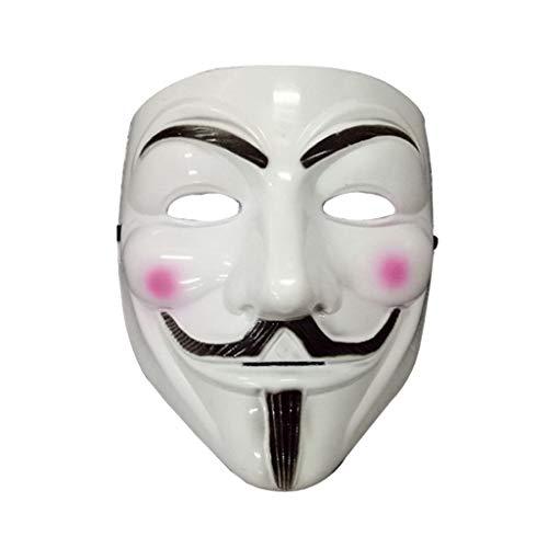 Xl Maske- Halloween Maske Cosplay Masken Film V-Maske Thema V Geek Guy Fawkes Maske Gesichtsdekoration Requisiten (Farbe : Weiß)
