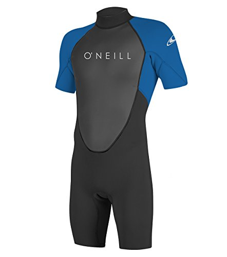 "O'NEILL Men's Reactor-2 2mm Back Zip Short Sleeve Spring Wetsuit, Black/Ocean, LS (5'7.5""-5'9.5"", 160-180 lbs)"