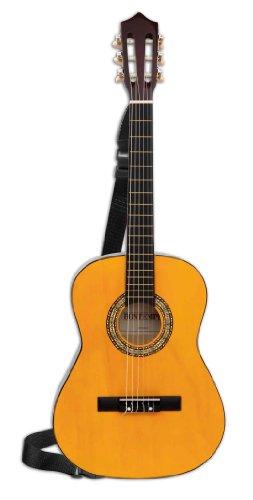 Bontempi 96121 Klassische Holzgitarre mit 6 Saiten. Stimmbar. Realistischer Sound. Plektrum. MusikMethode. Tragegurt. L. 920 mm