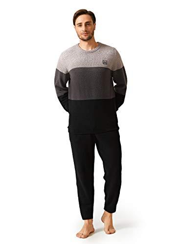 DAVID ARCHY Ensemble pyjama chaud et confortable à manches longues en polaire pour homme