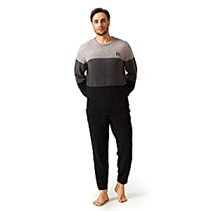 DAVID ARCHY Men's Plush Fleece Sleepwear Warm Cozy Long Sleeve Top & Bottom Pajama Set Nightwear