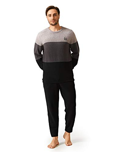 DAVID ARCHY Men's Plush Fleece Sleepwear Warm Cozy Long Sleeve Top & Bottom Pajama Set Nightwear