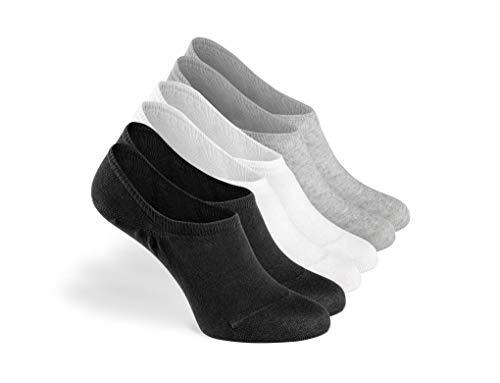 Greylags PREMIUM Invisible Sneaker Socken, rutschfest, 6 Paar - gekämmte Baumwolle bequem ohne drückende Naht in schwarz, grau, weiß - 39-42