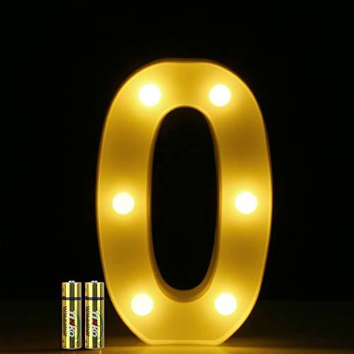 HONPHIER LED Nummer Licht 3D Nummer Lampe Buchstaben Lichter Alphabet Lampe LED Brief Beleuchtung Buchstabe Licht Beleuchtete Buchstaben Nachtlichter Dekoration für Geburtstag Party (0)