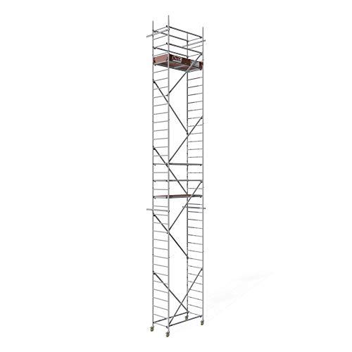 ALTEC Rollfix® 2.0 1000-S | 10m Arbeitshöhe | bremsb. Lenkrollen (Ø125mm) | Wandanker | Made in Germany | TÜV&GS | belastbar 200kg/m² | Norm - EN 1004:2005 | Modulares Arbeitsgerüst | Alu-Gerüst