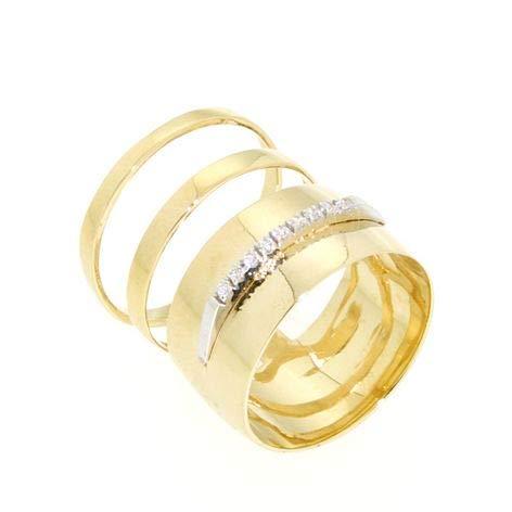 Gabriela Rigamonti Jewels-Anello a fascia Oro giallo 14kt con zirconi.