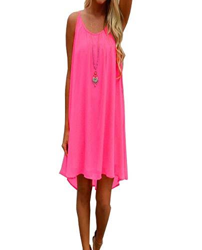 Dames Zomerjurken Sexy strandjurken Ronde hals Mouwloos Mini chiffon jurk Dames longshirt Blouse Jurken Strandkleding Casual blouse,Pink,XL
