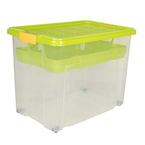 2 Stück AXENTIA Unibox mit Deckel und Rollen Stapelbox Aufbewahrungskiste Spielzeugbox 60 x 40 x 44,5 cm mit Einlegefach 80 Liter