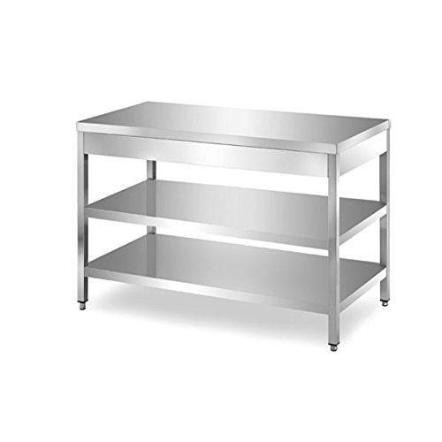 Table en acier inoxydable avec 2 étagères sans Présentoir dim. cm 200 x 60 x 85h