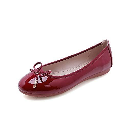 Damen Ballerinas Klassische Schleife Slip-On Komfort Runde Zehen Kleid Schuhe, Rot (weinrot), 42 EU