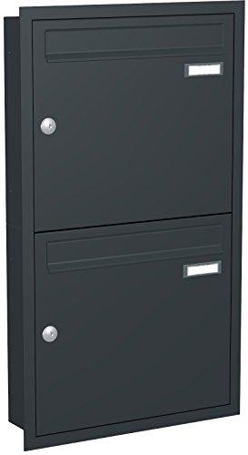Unterputz Briefkasten CLASSIC 534-UP-7016 - RAL 7016 anthrazitgrau feinstruktur, matt (2 Parteien, senkrecht)