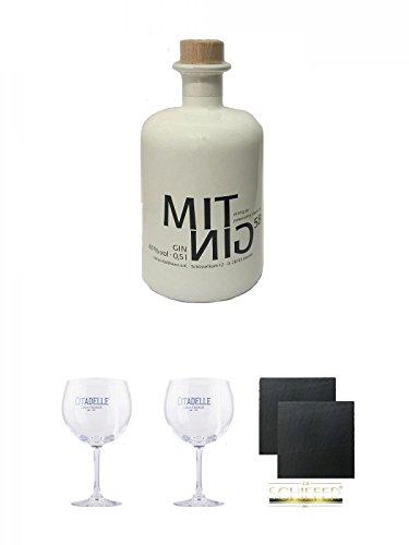 Mitnig 58 Gin - White - 0,5 Liter + Citadelle Ballon GIN Glas 1 Stück + Citadelle Ballon GIN Glas 1 Stück + Schiefer Glasuntersetzer eckig ca. 9,5 cm Ø 2 Stück
