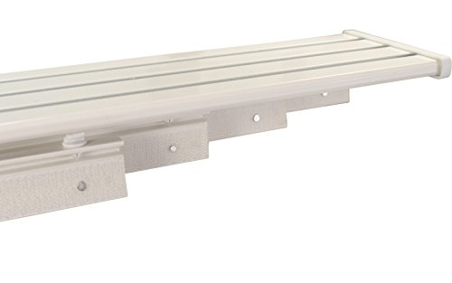 iso-design Gardinenschienen Set weiß, Schiene vorgebohrt 4 läufig aus Aluminium mit Kunststoff Paneelwagen und Schleuderstab, 160 cm