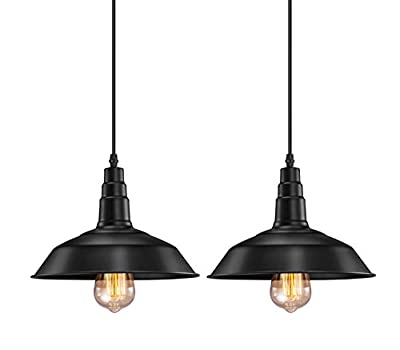 FadimiKoo Industrial Pendant Lighting, E26 E27 Base Vintage Metal Hanging Light Edison Simplicity Lamp Fixturem 2 Pack