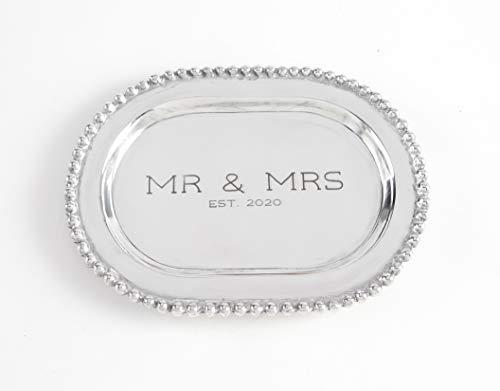 MR MRS BEADED METAL PLATTER