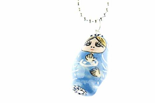 Miniblings Matroschka Kette Halskette 80cm Babuschka Russ. Puppe Porzellan blau