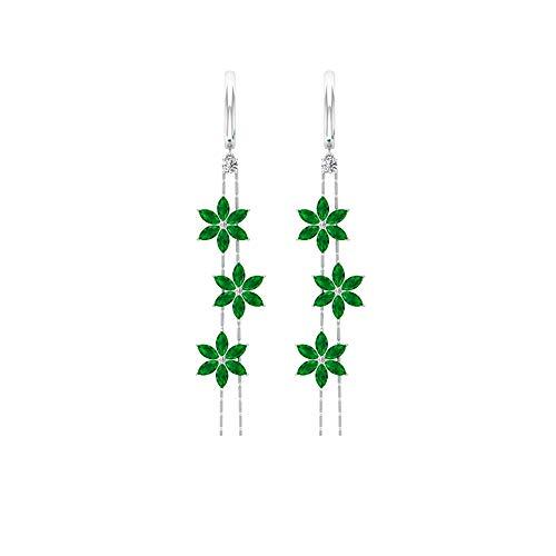 Pendientes de flor de esmeralda con forma de marquesa de 3,24 quilates, certificado SGL, pendientes colgantes de diamante IJ-SI, pendientes de gota de cadena larga, con clip.