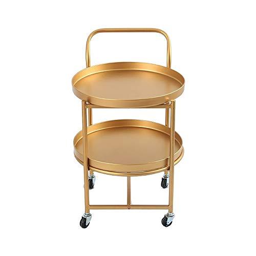 XiuHUa Rekwagentje, smeedijzer moderne mode goud woonkamer winkel Wielen rek kinderwagen opslag trolley