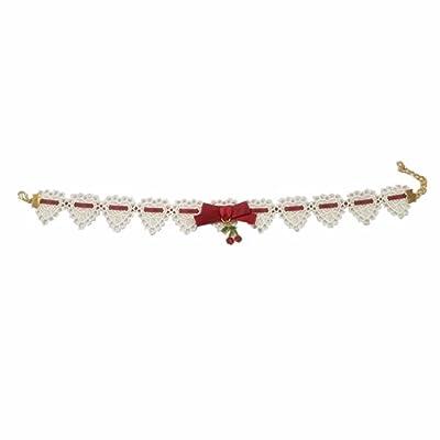 TOMORI Womens Cute Pendant Choker Lolita Strawberry Cherry Lace Necklace Ribbon Bowknot Cosplay Accessory (Cherry with white lace)