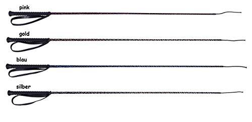 netproshop Gerte Rhombic - Samt mit farbigem Glitzer, gummierter Griff 90 cm / 110 cm Farbwahl, Farbe:Pink, Groesse:90 cm