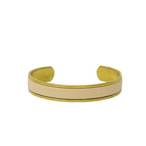 名入れ 真鍮 ヌメ革 バングル ブレスレット 刻印付き 指輪 メンズ レディース レザー ペアバングル brass プレゼント ギフト (ナチュラル, M)