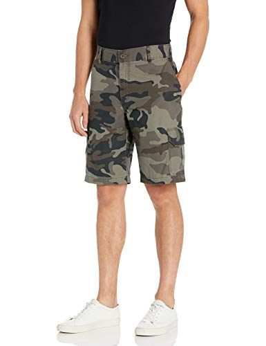 Dickies Men's Relaxed Fit 11 Lightweight Rip Stop Cargo Short, Stonewashed Moss/Black/Green Camo, W40