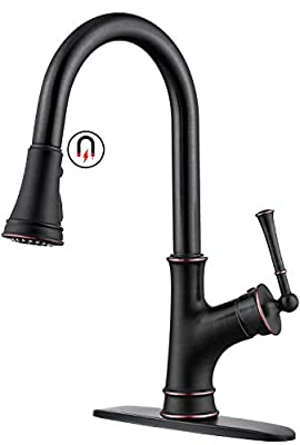 APPASO Kitchen Faucet with Pull Down Sprayer and Magnetic Docking Spray Head, Oil Rubbed Bronze Single-Handle High Arc Single Hole Pull Out Kitchen Sink Faucets with Escutcheon