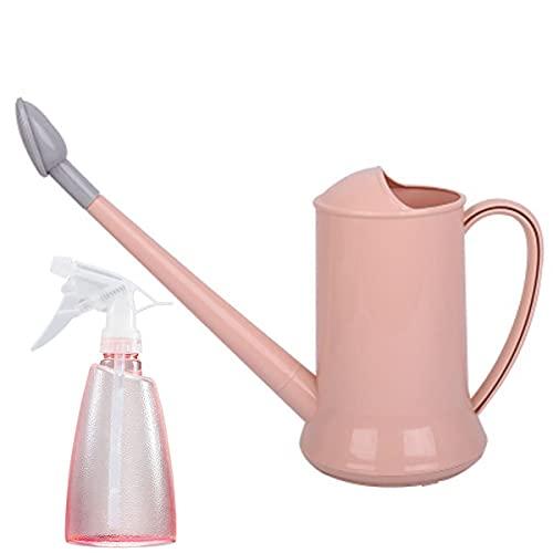 Doinh Regadera larga de plástico para regar plantas de interior y exterior, suculentas y flores, boquilla larga con botella de spray Mister de 500 ml, color rosa