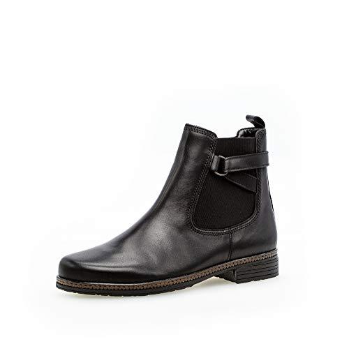 Gabor Damen Stiefeletten, Frauen Chelsea Boots,Best Fitting,Reißverschluss,Übergrößen,Optifit- Wechselfußbett, feminin,schwarz,39 EU / 6 UK