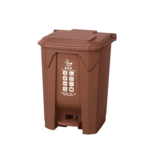 AOYANQI-Poubelles En plein air Recyclage Bins, Rectangle Bin Épaississement Refuse Jardin plastique Théâtre Hôtel Cuisine Dustbins 45L, 68L intérieure/extérieur ( Color : Brown , Size : 68*41*47CM )