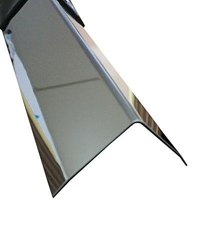 Eckschutzschiene Edelstahl 3-fach gekantet Kantenschutz Eckwinkel 2 Meter lang (40x40x0,8 mm, Spiegel Effekt)