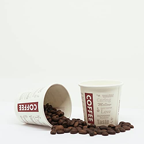 100 Bicchieri di Carta con Coperchio + Palettine in Legno per Caffé. Coffee to Go, 200ml / 8oz. Tazza con Coperchio per Caffé, tè, Le Bevande Calde e Fredde