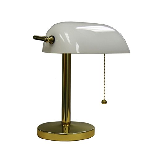 ORE International KT-188WH Bankers Lamp, 12.5-Inch Height, White