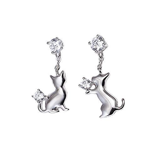 Yazilind S925 plata esterlina lindo gatito gato de la gota cuelgan cuelgan pendientes dulces niñas joyería regalo de cumpleaños de las mujeres