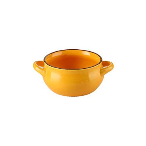 JLWM Cuenco para Sopa con 2 Asas, Cuencos para Sopa Tazón De Porcelana Cerámico Horno Microonda Cocina Mini Pequeño para Desayuno Leche Fruta Ensalada Postre Horneando Color Liso-Amarillo