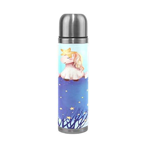LDIYEU Sueño Unicornio Árbol Estrella Termo Botella de Agua Aislamiento Acero Inoxidable 500ml Cuero Envuelto Termica Botellas Taza para Cafe Viaje Deporte