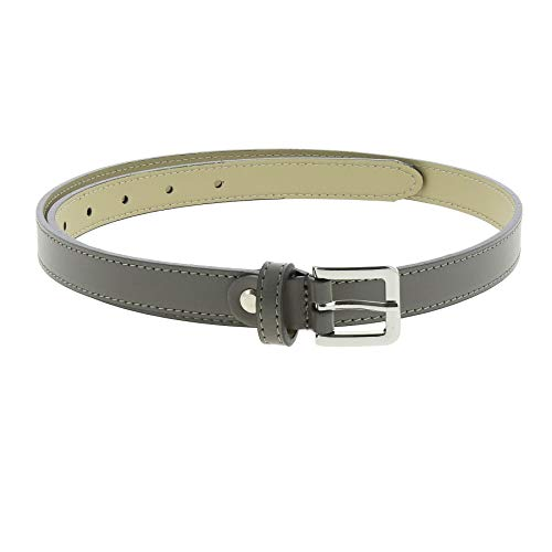 FASHIONGEN - Belt Genuine Italian leather for women, LINDA - Grey, 75 cm (30 in) / Waist size 26 to 30