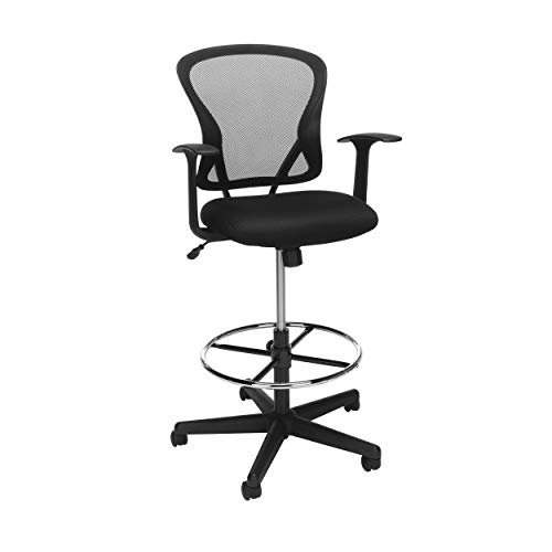 OFM ESS Collection Mid Back Mesh Drafting Chair, Stool, Black