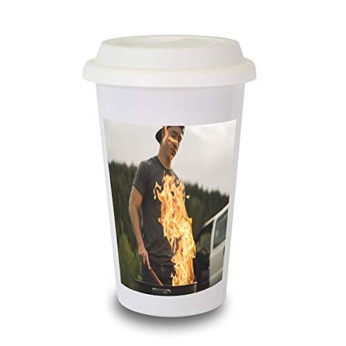 Cup to go mit Silikondeckel, Kaffeebecher mit eigenem Motiv oder Foto selbst gestalten - hochwertige weiße doppelwandige konische Keramiktasse - Fototasse - Motivtasse - Fotogeschenk