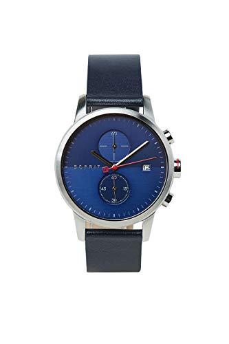 Esprit Edelstahl-Chronograph mit Leder-Armband