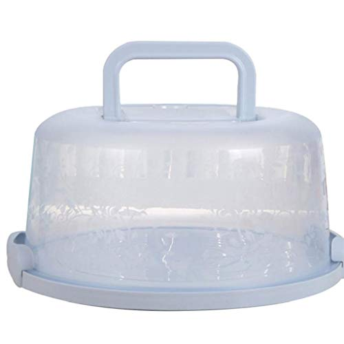 Odoukey Mango portátil de la Torta de la Caja de Transporte de contenedores Pie de Almacenamiento de la Magdalena de luz Azul Redondo Transporte Tapa del Clip de Bloqueo
