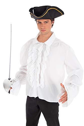 Piraten Rüschenhemd Weiß Gr. 42 44 - Hemd zum Kostüm Mittelalter Gothic Barock Vampir